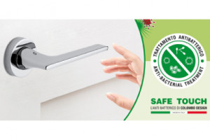 Door handles with antibacterial treatment